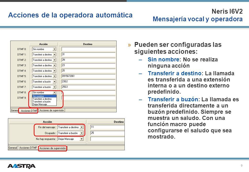 Neris I6V2 Mensajería vocal y operadora 10 Acciones de la operadora automática »Dejar mensaje: El llamante tiene la posibilidad de dejar un mensaje en un buzón predefinido.