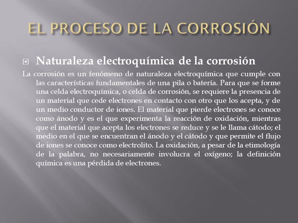 Naturaleza electroquímica de la corrosión La corrosión es un fenómeno de naturaleza electroquímica que cumple con las características fundamentales de