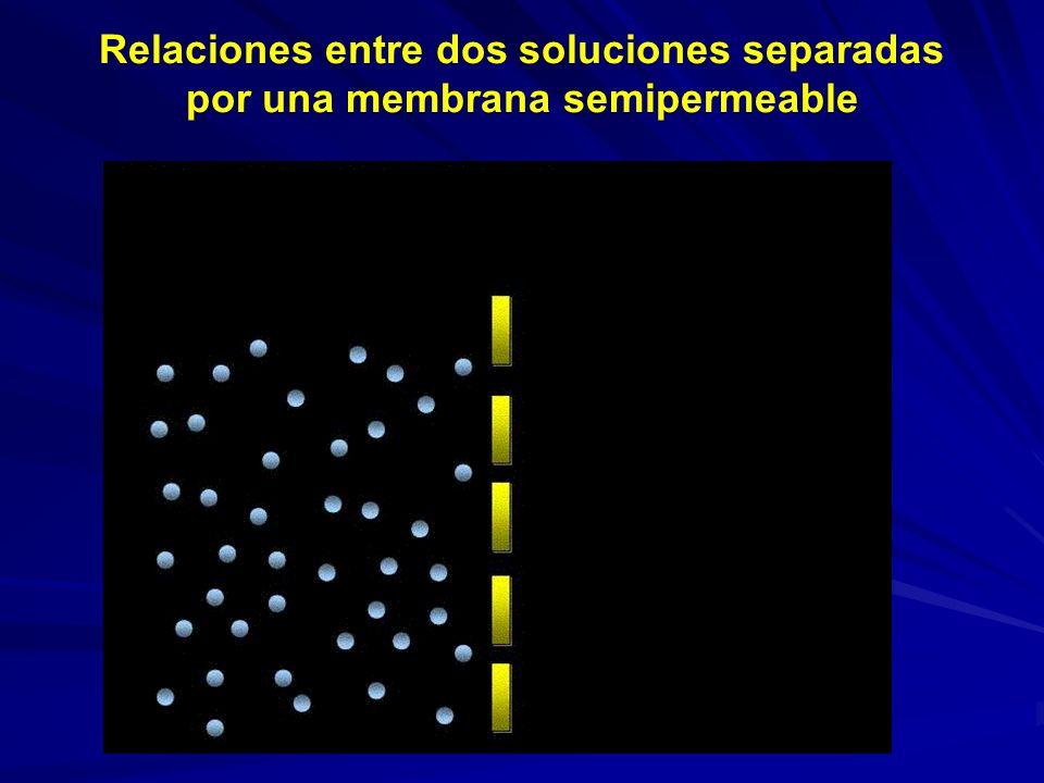 Relaciones entre dos soluciones separadas por una membrana semipermeable