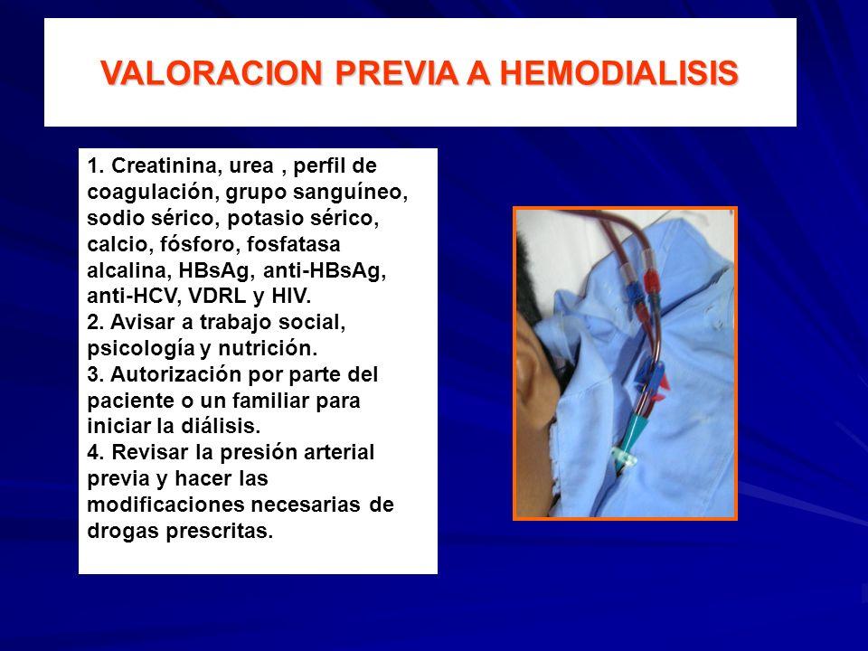 VALORACION PREVIA A HEMODIALISIS 1. Creatinina, urea, perfil de coagulación, grupo sanguíneo, sodio sérico, potasio sérico, calcio, fósforo, fosfatasa