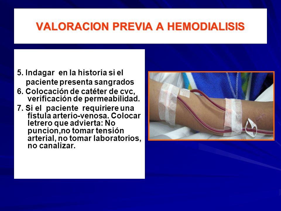 VALORACION PREVIA A HEMODIALISIS 5. Indagar en la historia si el paciente presenta sangrados 6. Colocación de catéter de cvc, verificación de permeabi