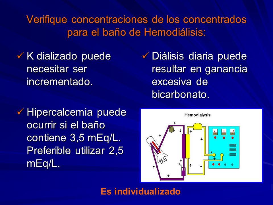 Verifique concentraciones de los concentrados para el baño de Hemodiálisis: K dializado puede necesitar ser incrementado. K dializado puede necesitar