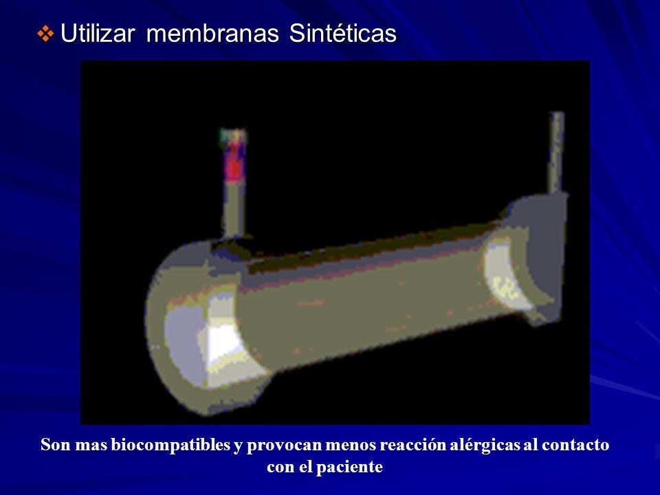Utilizar membranas Sintéticas Utilizar membranas Sintéticas Son mas biocompatibles y provocan menos reacción alérgicas al contacto con el paciente