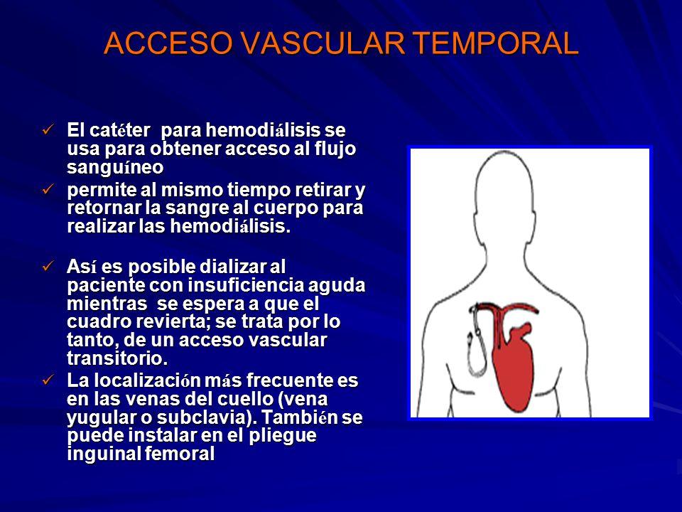 ACCESO VASCULAR TEMPORAL El cat é ter para hemodi á lisis se usa para obtener acceso al flujo sangu í neo El cat é ter para hemodi á lisis se usa para