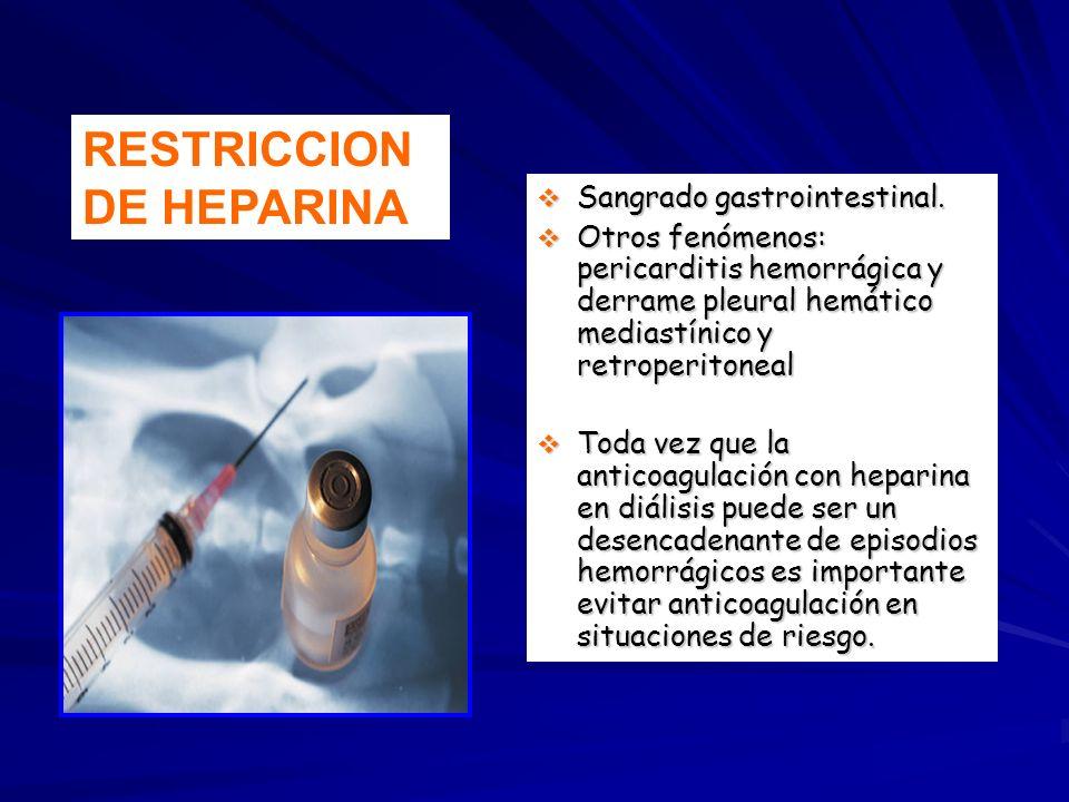 Sangrado gastrointestinal. Sangrado gastrointestinal. Otros fenómenos: pericarditis hemorrágica y derrame pleural hemático mediastínico y retroperiton