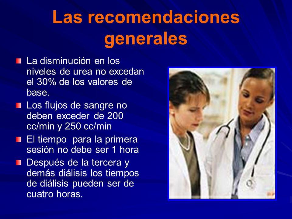 Las recomendaciones generales La disminución en los niveles de urea no excedan el 30% de los valores de base. Los flujos de sangre no deben exceder de