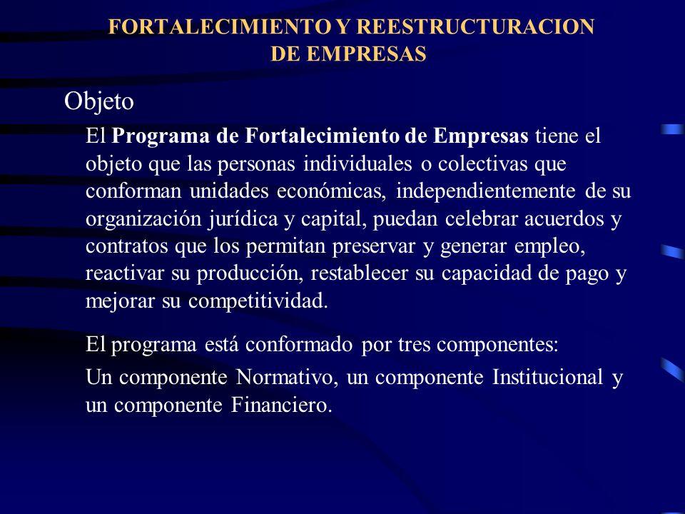 FORTALECIMIENTO Y REESTRUCTURACION DE EMPRESAS Objeto El Programa de Fortalecimiento de Empresas tiene el objeto que las personas individuales o colec