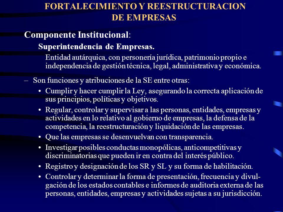 FORTALECIMIENTO Y REESTRUCTURACION DE EMPRESAS Componente Institucional: Superintendencia de Empresas. Entidad autárquica, con personería jurídica, pa