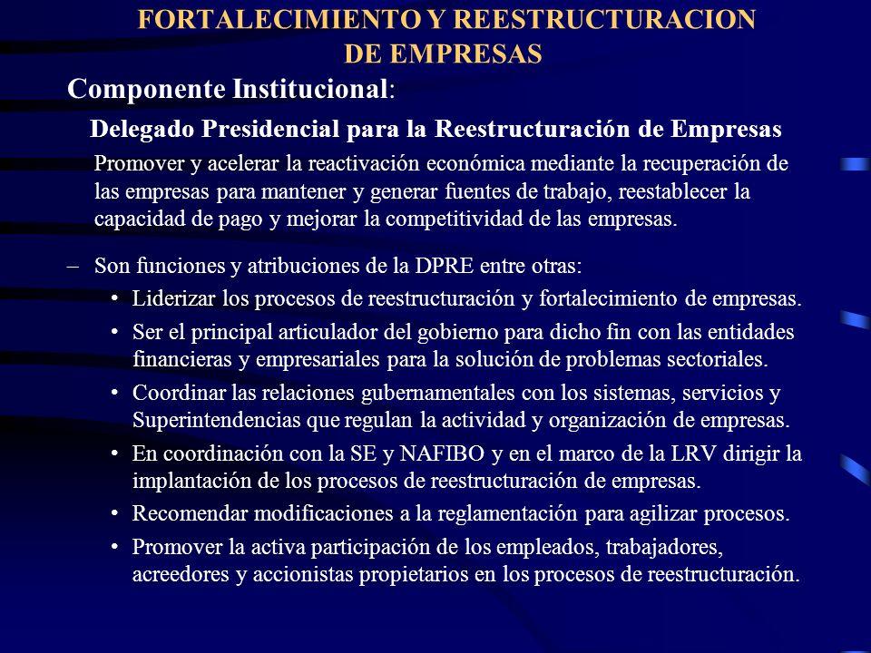 FORTALECIMIENTO Y REESTRUCTURACION DE EMPRESAS Componente Institucional: Delegado Presidencial para la Reestructuración de Empresas Promover y acelera