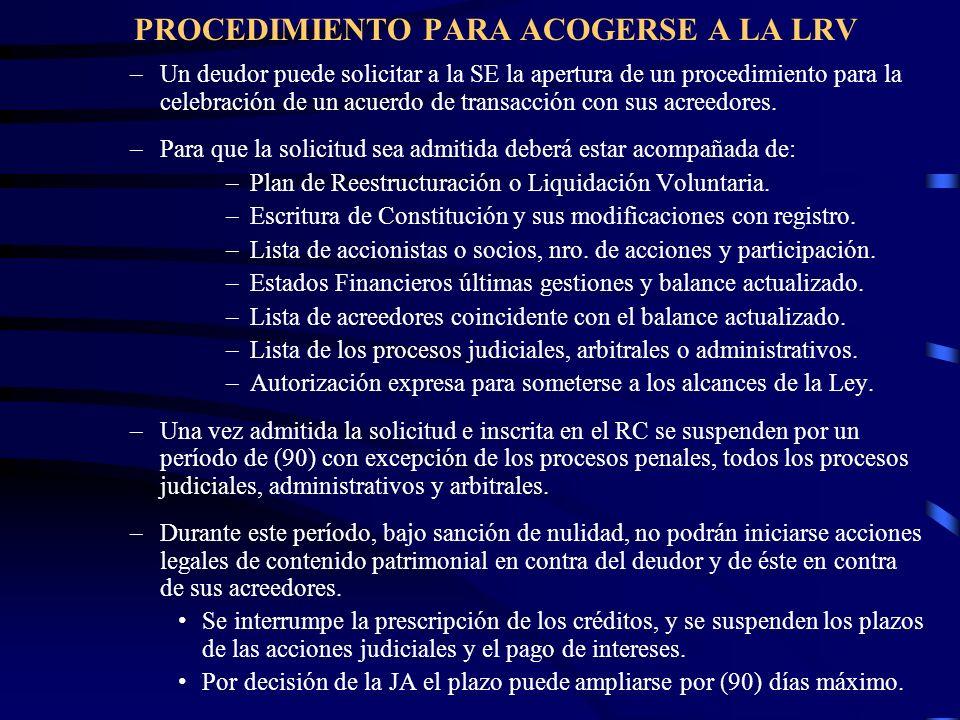 PROCEDIMIENTO PARA ACOGERSE A LA LRV –Un deudor puede solicitar a la SE la apertura de un procedimiento para la celebración de un acuerdo de transacci