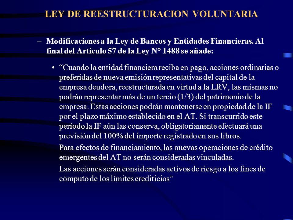 LEY DE REESTRUCTURACION VOLUNTARIA –Modificaciones a la Ley de Bancos y Entidades Financieras. Al final del Artículo 57 de la Ley N° 1488 se añade: Cu
