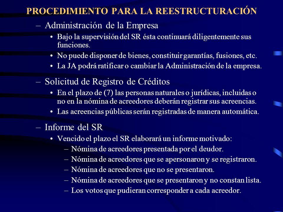 –Administración de la Empresa Bajo la supervisión del SR ésta continuará diligentemente sus funciones. No puede disponer de bienes, constituir garantí