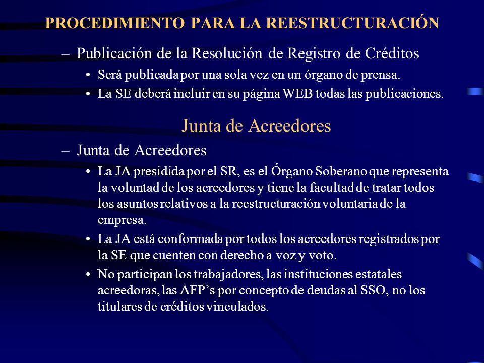 PROCEDIMIENTO PARA LA REESTRUCTURACIÓN –Publicación de la Resolución de Registro de Créditos Será publicada por una sola vez en un órgano de prensa. L