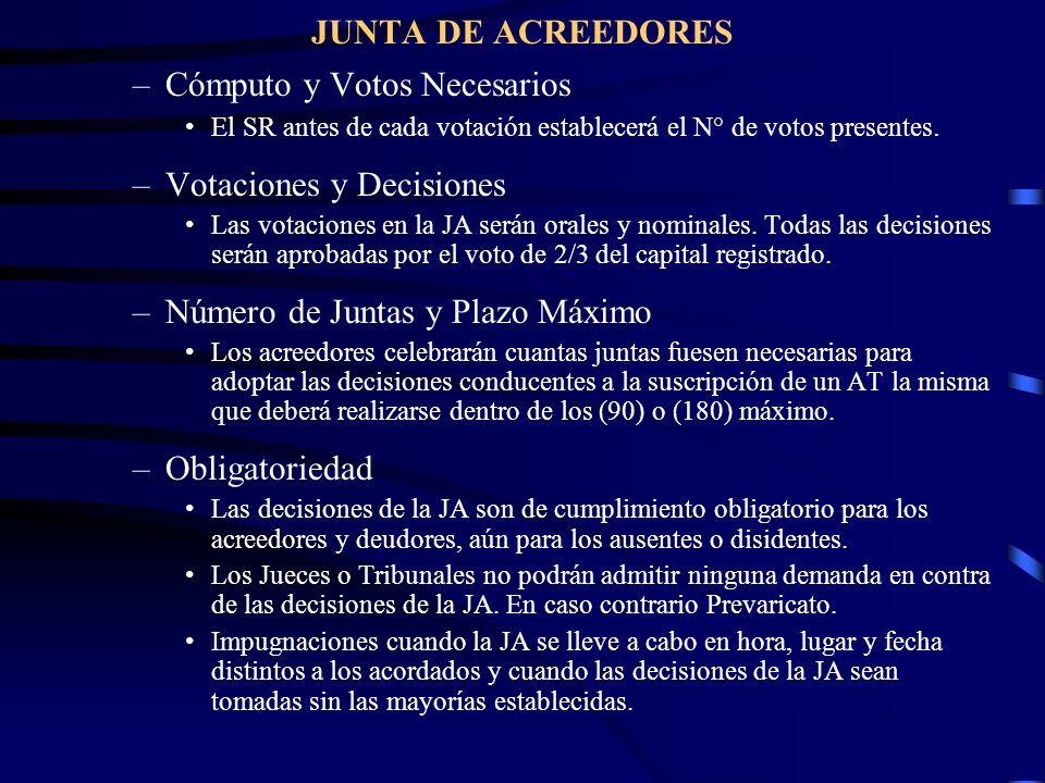 JUNTA DE ACREEDORES –Cómputo y Votos Necesarios El SR antes de cada votación establecerá el N° de votos presentes. –Votaciones y Decisiones Las votaci