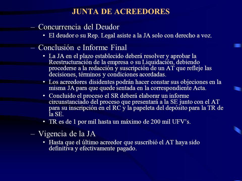 JUNTA DE ACREEDORES –Concurrencia del Deudor El deudor o su Rep. Legal asiste a la JA solo con derecho a voz. –Conclusión e Informe Final La JA en el