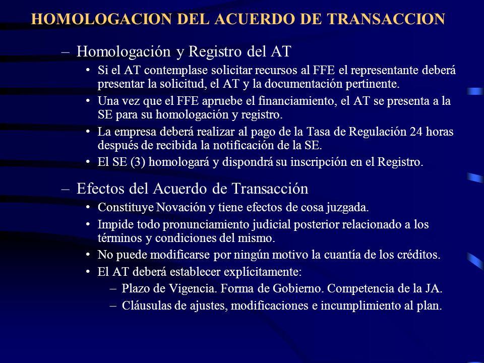 HOMOLOGACION DEL ACUERDO DE TRANSACCION –Homologación y Registro del AT Si el AT contemplase solicitar recursos al FFE el representante deberá present