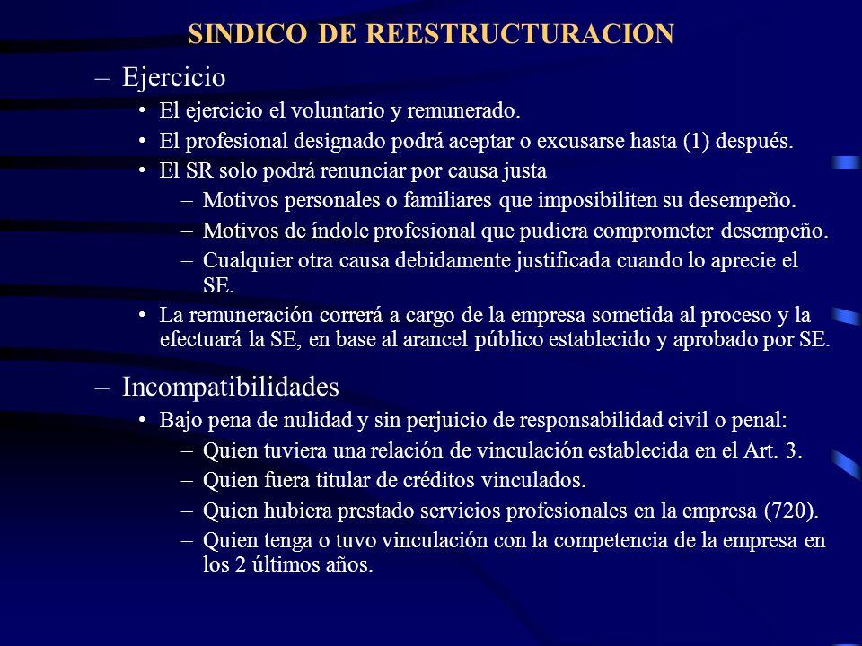 SINDICO DE REESTRUCTURACION –Ejercicio El ejercicio el voluntario y remunerado. El profesional designado podrá aceptar o excusarse hasta (1) después.