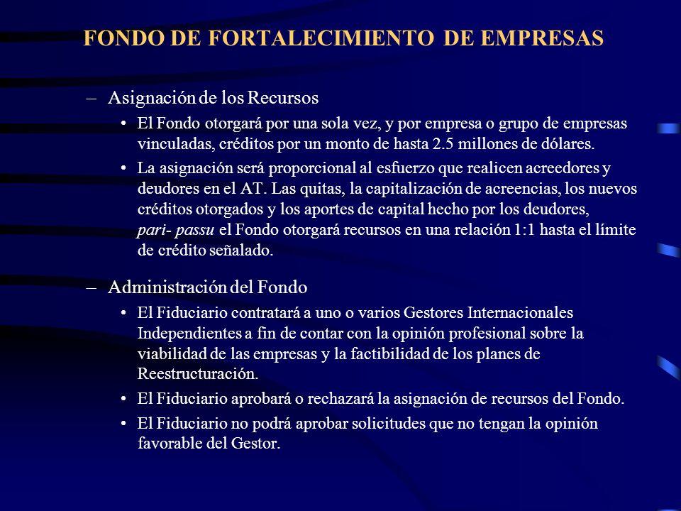 FONDO DE FORTALECIMIENTO DE EMPRESAS –Asignación de los Recursos El Fondo otorgará por una sola vez, y por empresa o grupo de empresas vinculadas, cré