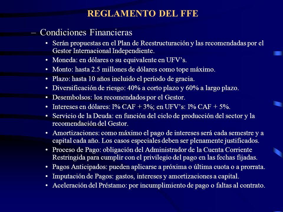 REGLAMENTO DEL FFE –Condiciones Financieras Serán propuestas en el Plan de Reestructuración y las recomendadas por el Gestor Internacional Independien