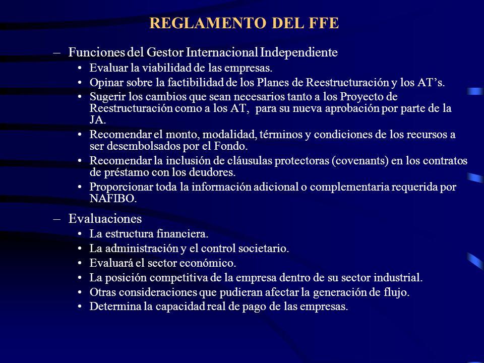 REGLAMENTO DEL FFE –Funciones del Gestor Internacional Independiente Evaluar la viabilidad de las empresas. Opinar sobre la factibilidad de los Planes