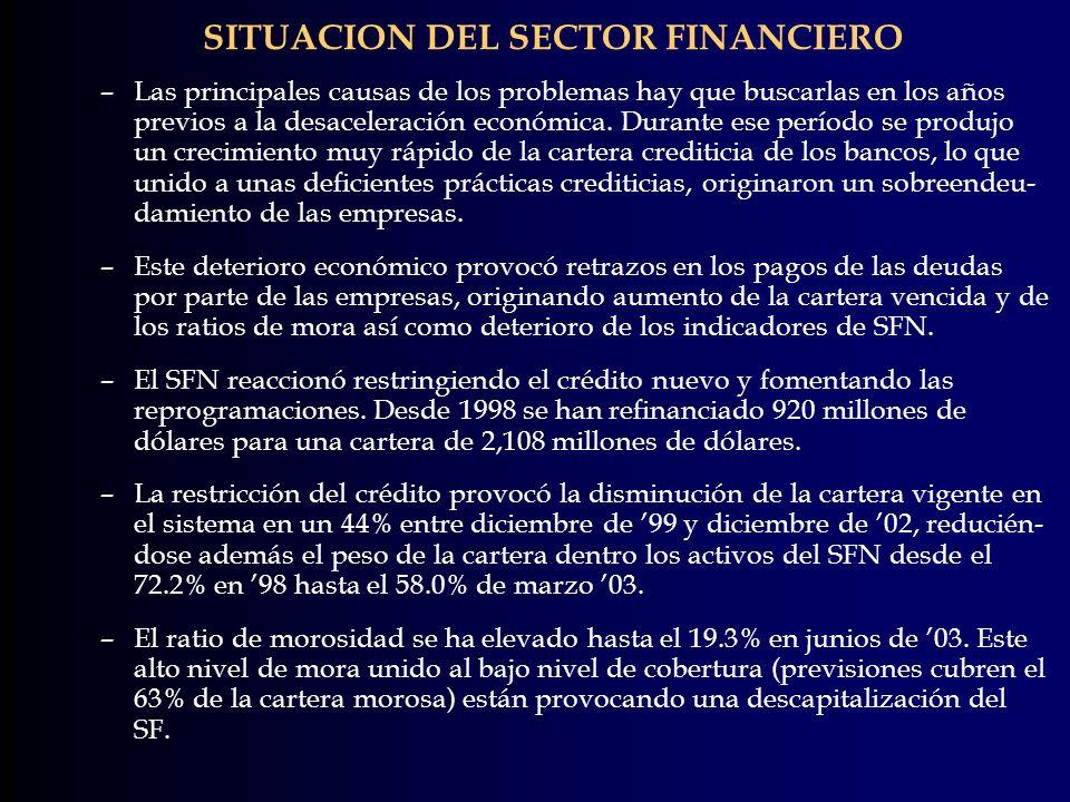 SITUACION DEL SECTOR FINANCIERO –Las principales causas de los problemas hay que buscarlas en los años previos a la desaceleración económica. Durante