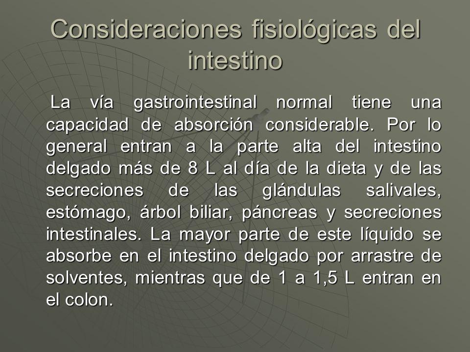 Consideraciones fisiológicas del intestino La vía gastrointestinal normal tiene una capacidad de absorción considerable. Por lo general entran a la pa