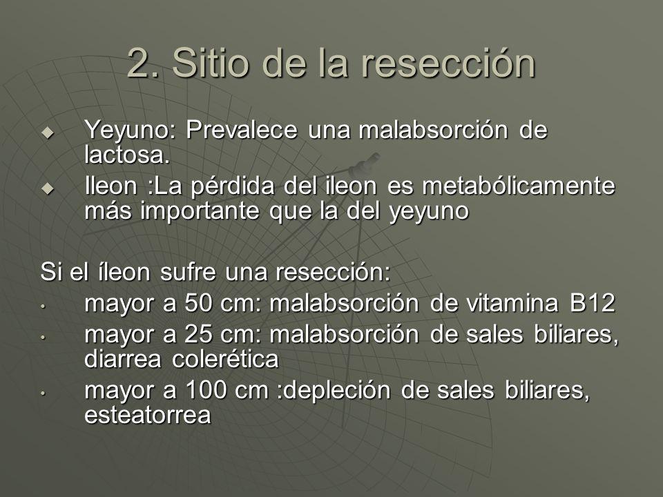 2. Sitio de la resección Yeyuno: Prevalece una malabsorción de lactosa. Yeyuno: Prevalece una malabsorción de lactosa. Ileon :La pérdida del ileon es