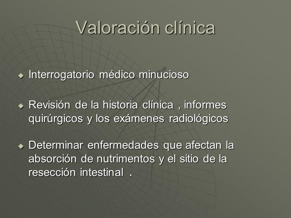 Valoración clínica Interrogatorio médico minucioso Interrogatorio médico minucioso Revisión de la historia clínica, informes quirúrgicos y los exámene