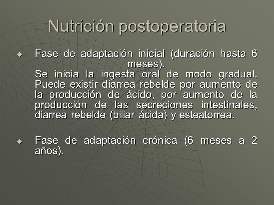 Nutrición postoperatoria Fase de adaptación inicial (duración hasta 6 meses). Se inicia la ingesta oral de modo gradual. Puede existir diarrea rebelde