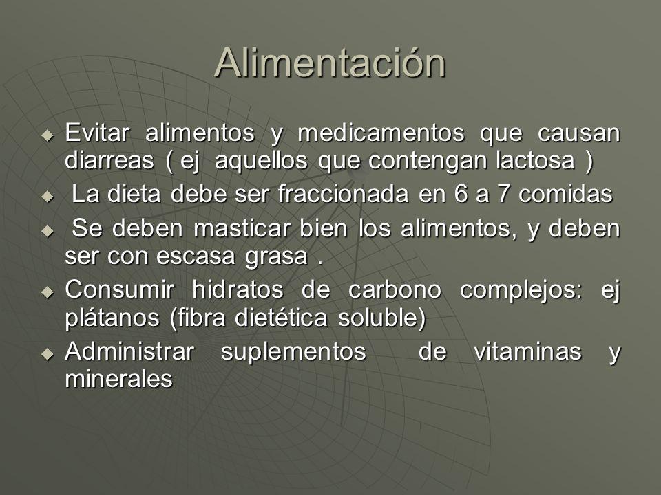 Alimentación Evitar alimentos y medicamentos que causan diarreas ( ej aquellos que contengan lactosa ) Evitar alimentos y medicamentos que causan diar