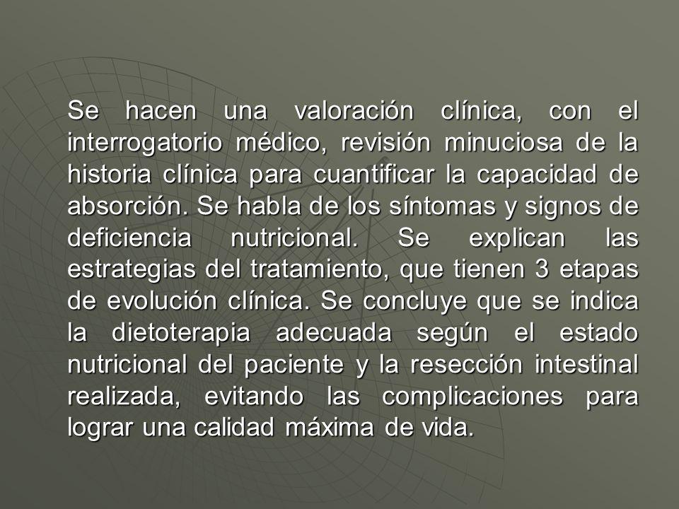 Se hacen una valoración clínica, con el interrogatorio médico, revisión minuciosa de la historia clínica para cuantificar la capacidad de absorción. S