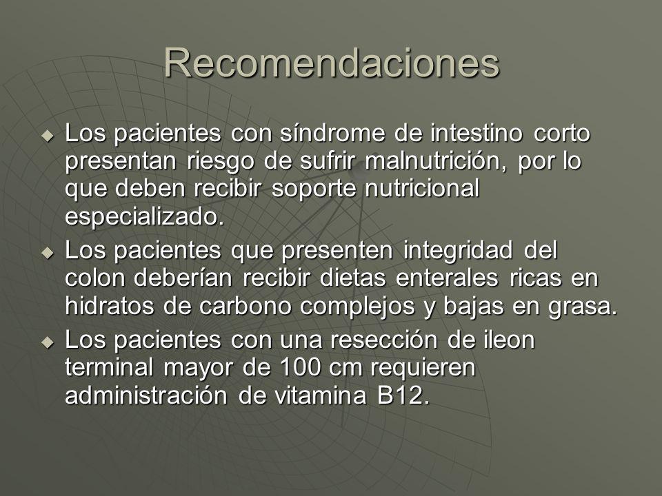Recomendaciones La nutrición parenteral está indicada en los pacientes con síndrome de intestino corto en los que el aporte oral o enteral de nutrientes no cubra los requerimientos nutricionales.