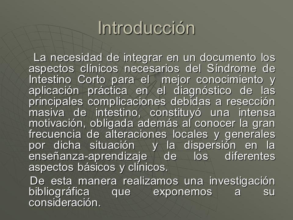 Introducción La necesidad de integrar en un documento los aspectos clínicos necesarios del Síndrome de Intestino Corto para el mejor conocimiento y ap