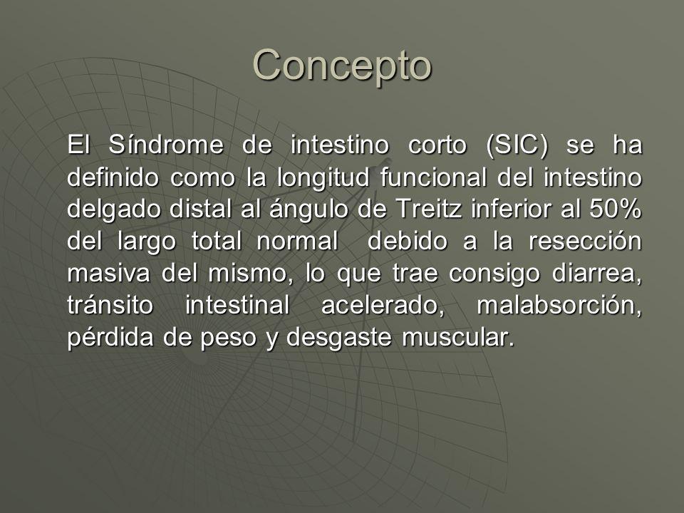 Concepto El Síndrome de intestino corto (SIC) se ha definido como la longitud funcional del intestino delgado distal al ángulo de Treitz inferior al 5