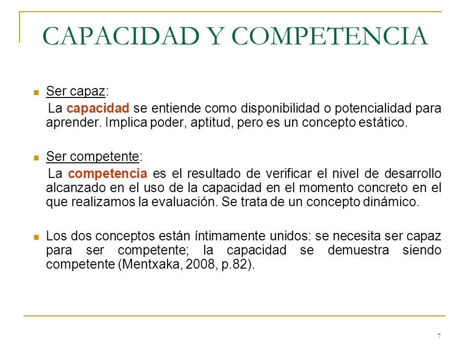 8 NATURALEZA Y CONSIDERACIÓN DE COMPETENCIA Y CAPACIDAD CAPACIDADESCOMPETENCIASELEMENTOS DE LA COMPETENCIA Potencial de desarrollo Disposición Universal Manejo de recursos diversos para afrontar situaciones y problemas complejos Habilidades Conocimientos Destrezas Saberes prácticos Emociones y actitudes Motivación … Consideración curricular COMPETENCIASOBJETIVOS COMO CAPACIDADES CONTENIDOS Se definen para toda la educación básica y obligatoria.