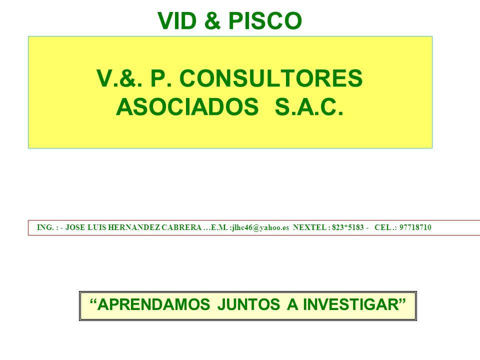 VID & PISCO V.&.P. CONSULTORES ASOCIADOS S.A.C. APRENDAMOS JUNTOS A INVESTIGAR ING.