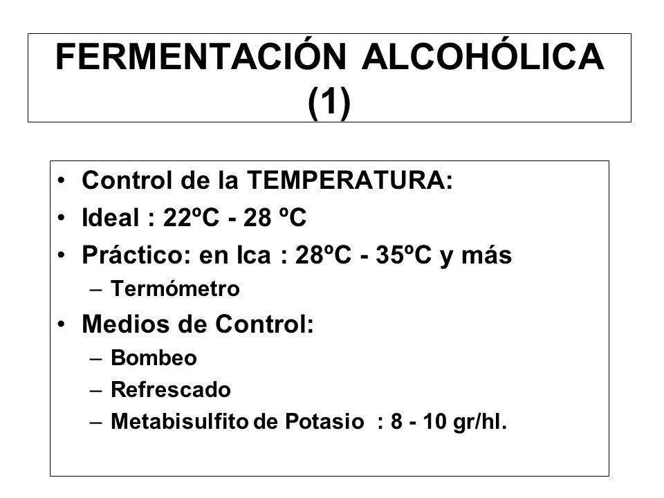 EL MOSTO (5) Principales correcciones –Excesivo contenido de azúcar Mezcla con mostos menos dulces Agua –Poca acidez Mosto de rebusque Adición de ácid