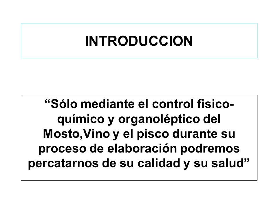 FERMENTACIÓN ALCOHÓLICA (1) Control de la TEMPERATURA: Ideal : 22ºC - 28 ºC Práctico: en Ica : 28ºC - 35ºC y más –Termómetro Medios de Control: –Bombeo –Refrescado –Metabisulfito de Potasio : 8 - 10 gr/hl.