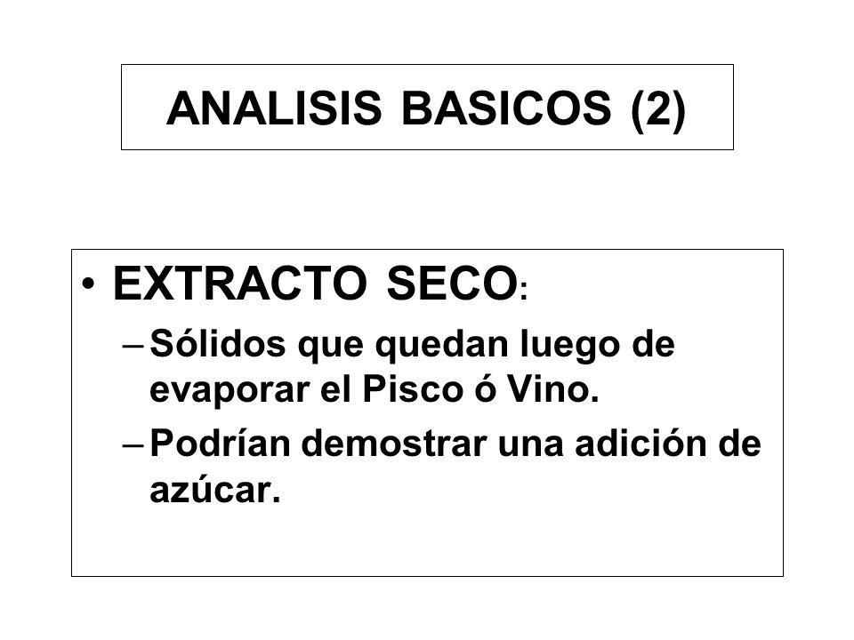 ANALISIS BÁSICOS (1) Grado alcohólico: –Origen: Azúcares fermentación – Alcoholímetro –Picnometría - Densidad –Tablas de corrección
