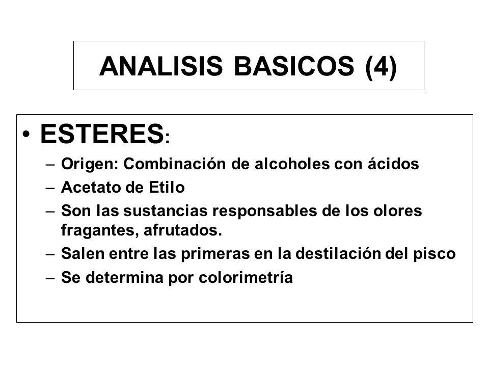 ANALISIS BASICOS (3) ACIDEZ TOTAL : –Para el Pisco la Acidez Total es igual a la acidez volátil. –Acido acético Comienza a destilar hacia la mitad del