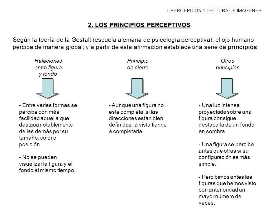 I. PERCEPCIÓN Y LECTURA DE IMÁGENES 2. LOS PRINCIPIOS PERCEPTIVOS Según la teoría de la Gestalt (escuela alemana de psicología perceptiva), el ojo hum