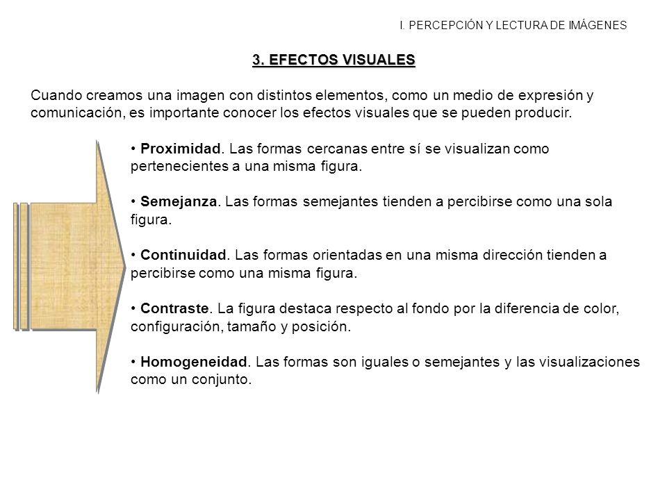 I. PERCEPCIÓN Y LECTURA DE IMÁGENES 3. EFECTOS VISUALES Cuando creamos una imagen con distintos elementos, como un medio de expresión y comunicación,