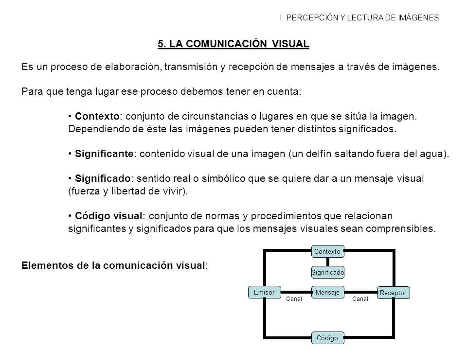 I. PERCEPCIÓN Y LECTURA DE IMÁGENES 5. LA COMUNICACIÓN VISUAL Es un proceso de elaboración, transmisión y recepción de mensajes a través de imágenes.