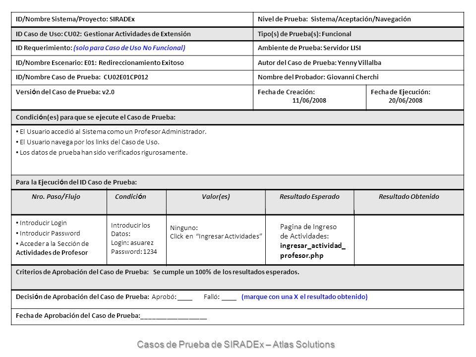 ID/Nombre Sistema/Proyecto: SIRADExNivel de Prueba: Sistema/Aceptación/Navegación ID Caso de Uso: CU02: Gestionar Actividades de ExtensiónTipo(s) de P