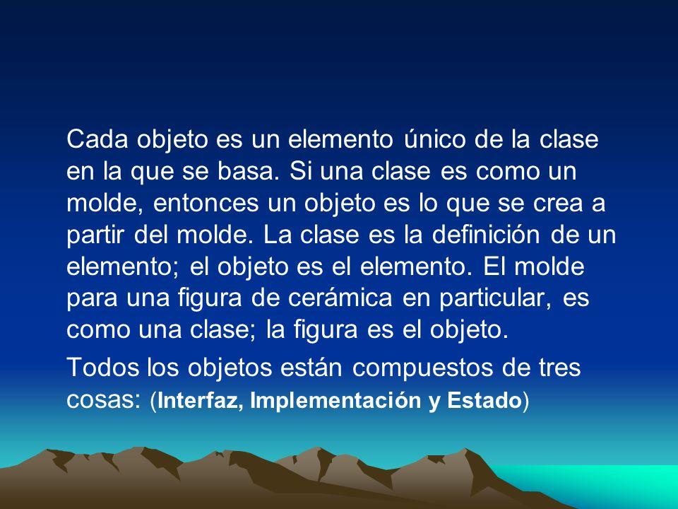 Cada objeto es un elemento único de la clase en la que se basa. Si una clase es como un molde, entonces un objeto es lo que se crea a partir del molde