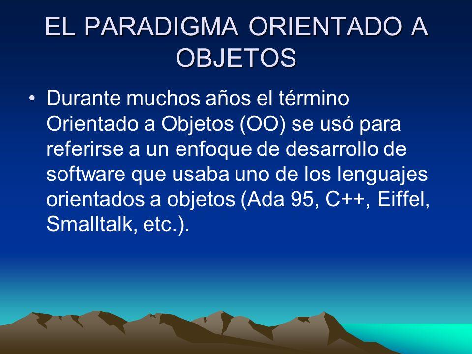EL PARADIGMA ORIENTADO A OBJETOS Durante muchos años el término Orientado a Objetos (OO) se usó para referirse a un enfoque de desarrollo de software