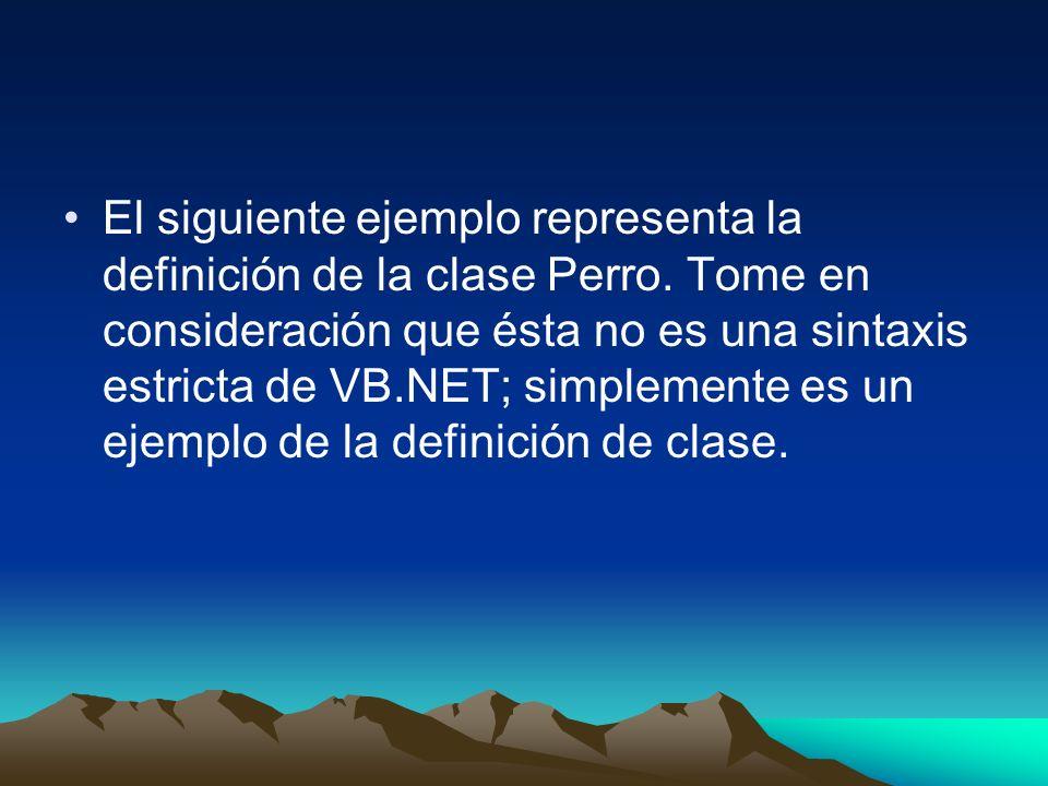 El siguiente ejemplo representa la definición de la clase Perro. Tome en consideración que ésta no es una sintaxis estricta de VB.NET; simplemente es