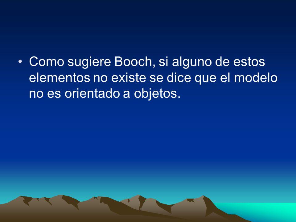 Como sugiere Booch, si alguno de estos elementos no existe se dice que el modelo no es orientado a objetos.