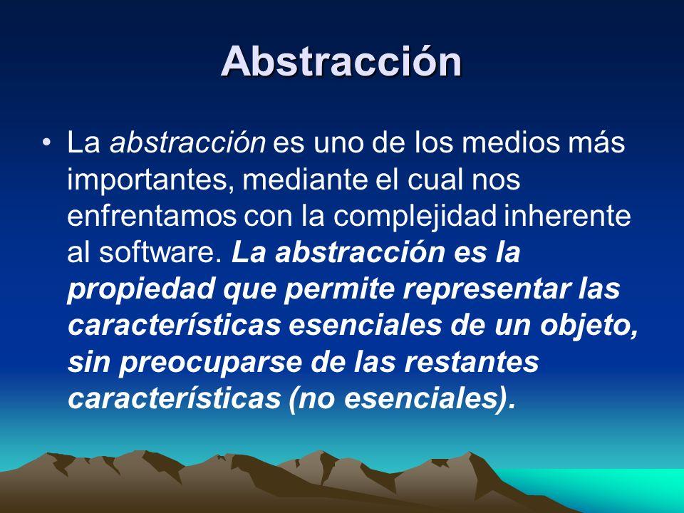 Abstracción La abstracción es uno de los medios más importantes, mediante el cual nos enfrentamos con la complejidad inherente al software. La abstrac