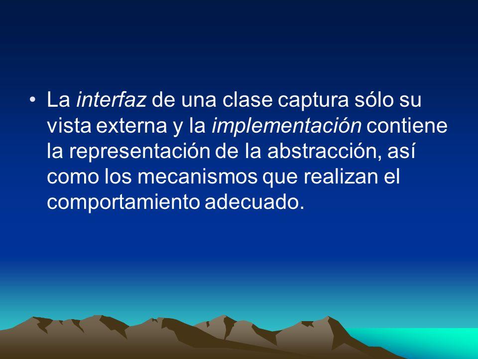 La interfaz de una clase captura sólo su vista externa y la implementación contiene la representación de la abstracción, así como los mecanismos que r